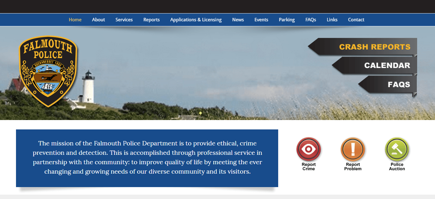 Falmouth Police Department home page image