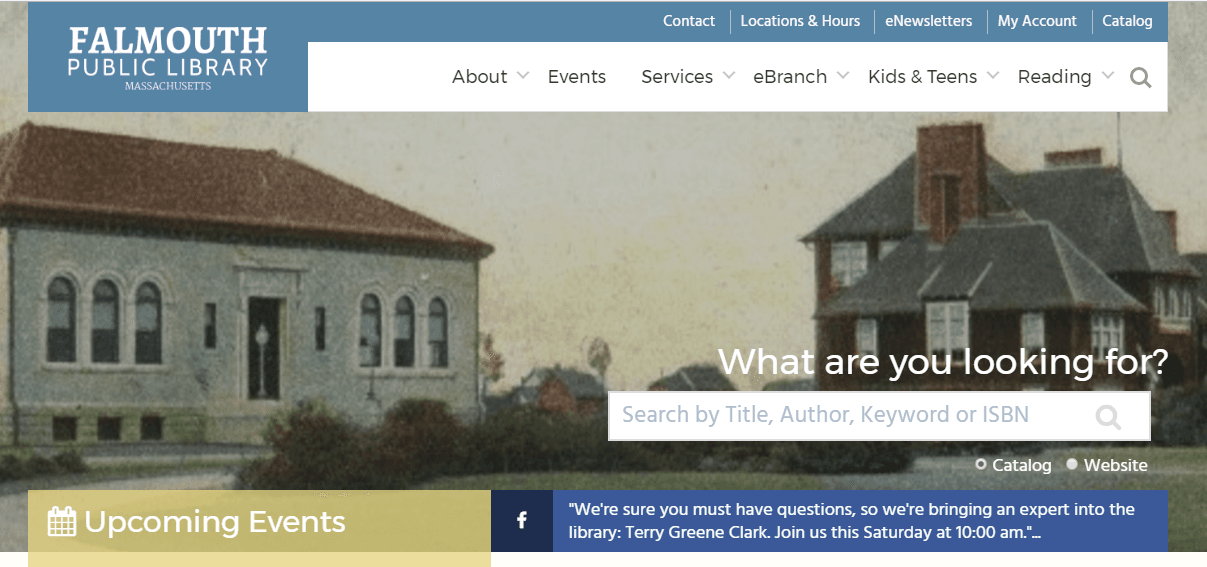 Falmouth Public Library Main website homepage image