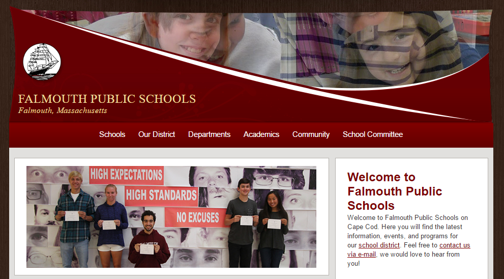 Falmouth Public Schools Main website homepage image