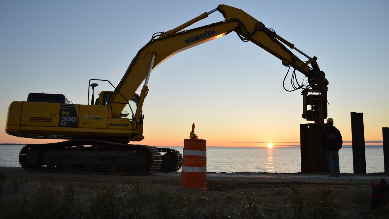 Chappy Excavator Operating on a Beach