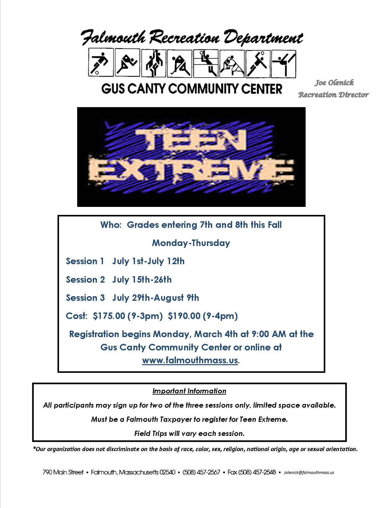 Teen Camp Flyer Summer 2019
