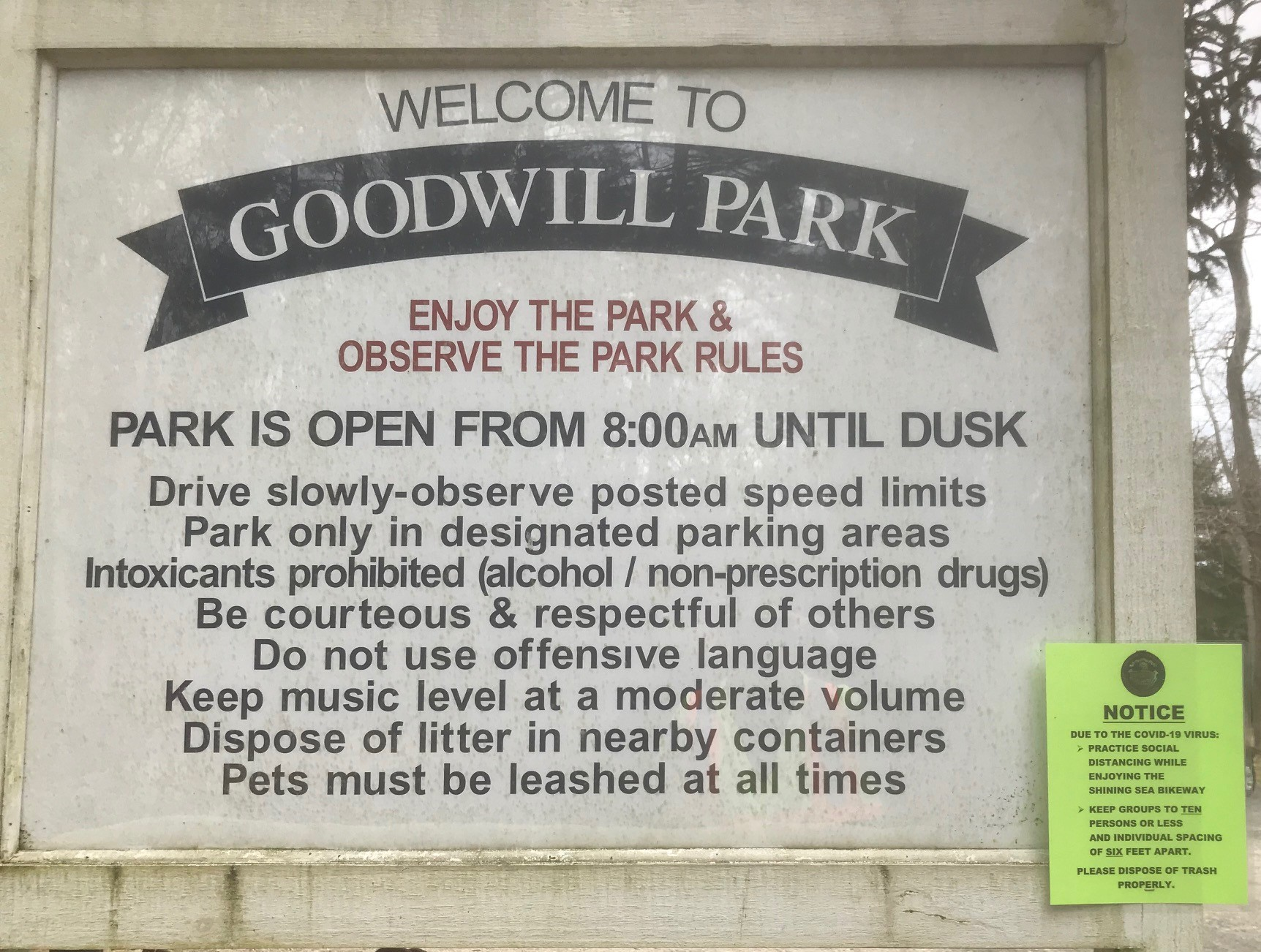 Covid - Goodwill Park Sign